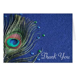La pluma del pavo real Jewels el azul le agradece Tarjeta