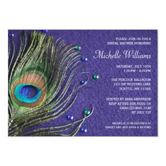 La pluma del pavo real Jewels la ducha nupcial Invitación 12,7 X 17,8 Cm