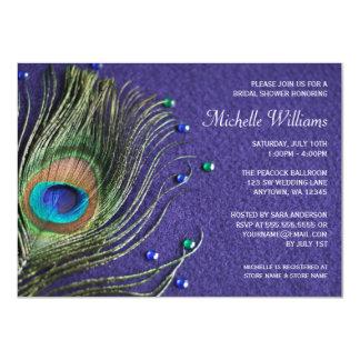 "La pluma del pavo real Jewels la ducha nupcial Invitación 4.5"" X 6.25"""