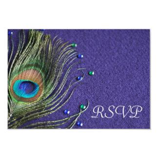 "La pluma del pavo real Jewels la tarjeta púrpura Invitación 3.5"" X 5"""