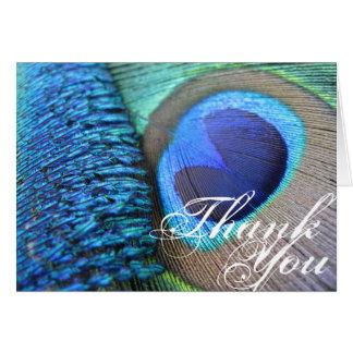 La pluma del pavo real le agradece tarjeta pequeña