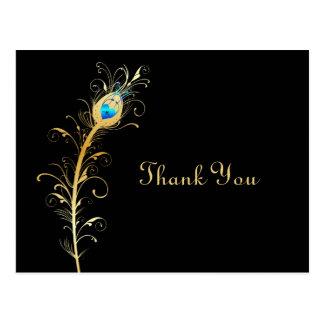 La pluma elegante del pavo real del negro y del or tarjeta postal