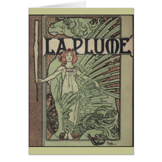La Plume By Alfons Mucha Card