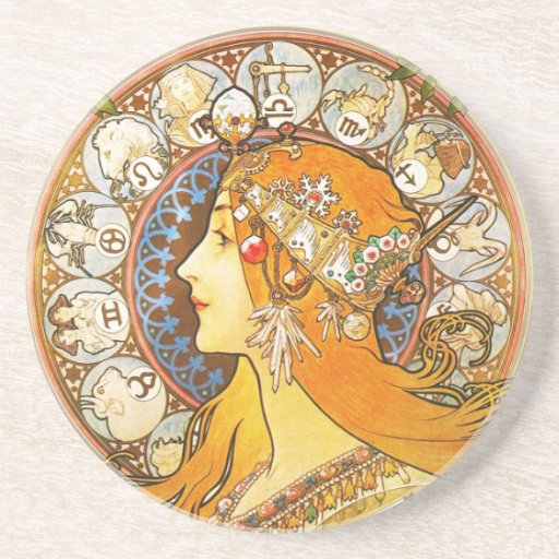 La Plume Zodiaque Mucha Drink Coasters Zazzle