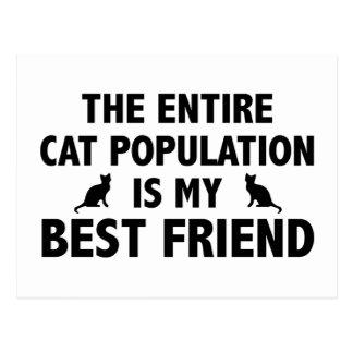 La población entera del gato es mi mejor amigo tarjetas postales