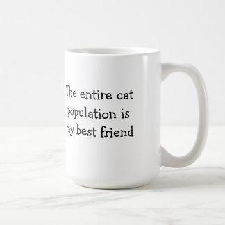 La población entera del gato es mi mejor amigo tazas de café