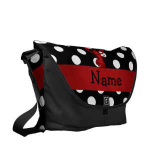 La polca blanca personalizada del negro rojo conoc bolsas de mensajería