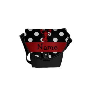 La polca blanca personalizada del negro rojo conoc bolsa de mensajeria