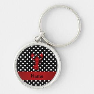 La polca blanca personalizada del negro rojo conoc llavero personalizado