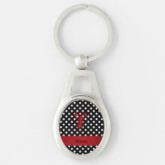 La polca blanca personalizada del negro rojo conoc llaveros