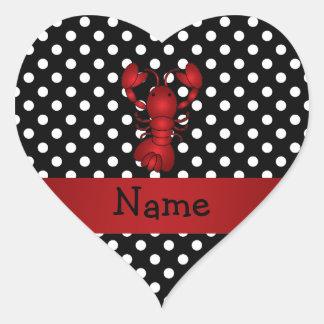 La polca blanca personalizada del negro rojo pegatina en forma de corazón