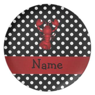 La polca blanca personalizada del negro rojo plato de cena