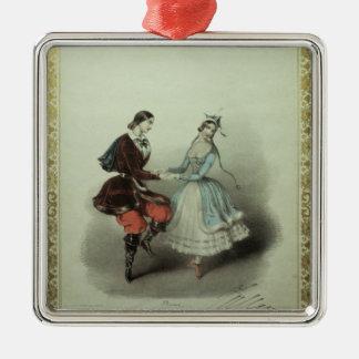 La polca celebrada, hoja de la canción, 1840 adorno cuadrado plateado