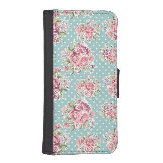 La polca elegante lamentable floral del vintage funda billetera para teléfono