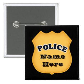 La policía Badge añade el botón conocido Pin Cuadrado