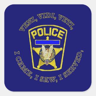 La policía Badge el escudo Pegatina Cuadrada