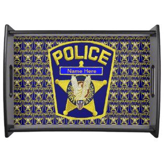 La policía Badge la bandeja de encargo de la porci