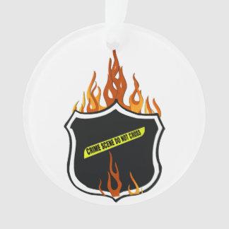 La policía Badge las llamas