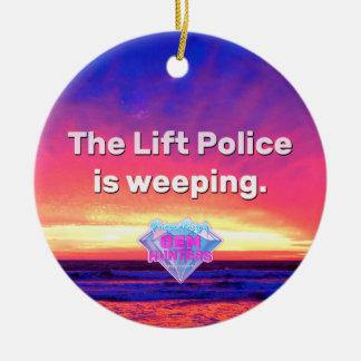 La policía de la elevación está llorando adorno navideño redondo de cerámica