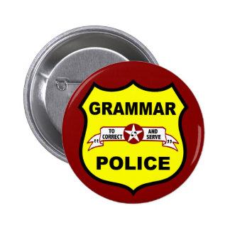 La policía de la gramática abotona pin redondo de 2 pulgadas