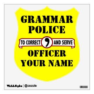 La policía de la gramática empareda la etiqueta vinilo adhesivo