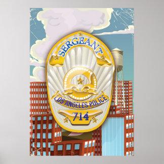 La policía de Los Ángeles Badge Póster