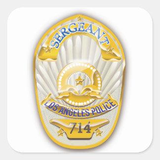 La policía de Los Ángeles California Badge. Pegatina Cuadrada