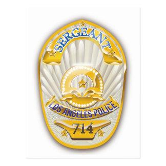 La policía de Los Ángeles California Badge. Postal