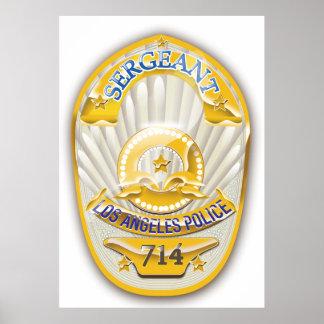La policía de Los Ángeles California Badge. Póster