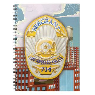 La policía de Los Ángeles California Badge. Spiral Notebook