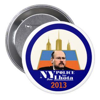 La policía de NY quiere a Joe Lhota para el alcald Pin Redondo De 3 Pulgadas