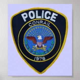 La policía del ferrocarril de Conrail remienda el Poster