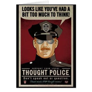 La policía del pensamiento carda tarjeta de felicitación