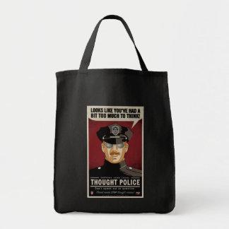 La policía del pensamiento empaqueta bolsa tela para la compra