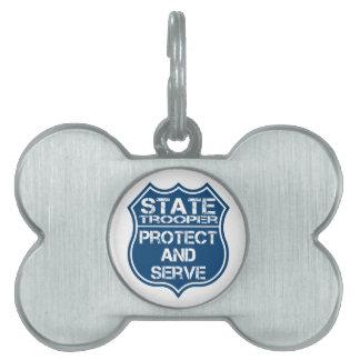 La policía del soldado de caballería estatal Badge Placa De Nombre De Mascota