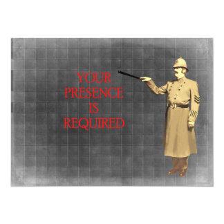 La policía del vintage sirve el ejemplo invitación 13,9 x 19,0 cm