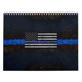 La policía enrarece la bandera de Blue Line Calendario De Pared
