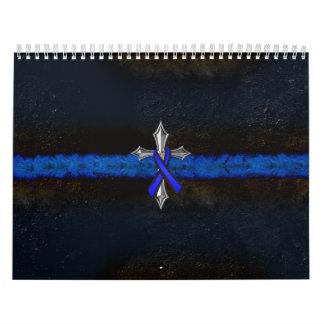 La policía enrarece la cruz y la cinta de Blue Calendario De Pared