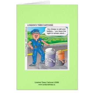 La policía Humor el asalto y la batería Notecards Felicitaciones
