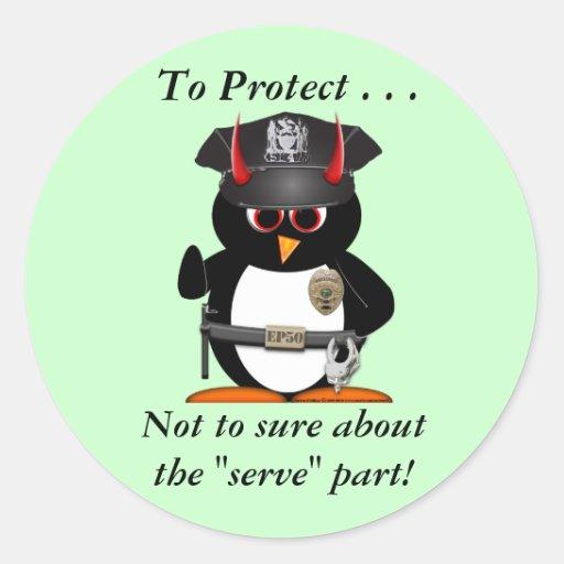 La policía malvada del pingüino protege etiqueta redonda