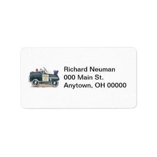 La policía Pedal etiqueta de dirección del coche