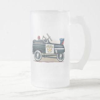 La policía Pedal taza del vidrio esmerilado del co