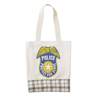 La policía protege y sirve la insignia bolsa tote zazzle HEART