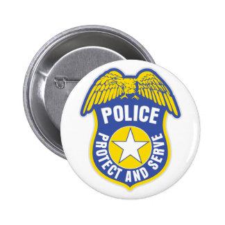 La policía protege y sirve la insignia pin redondo de 2 pulgadas