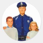 La policía retra del poli del kitsch del vintage pegatina redonda