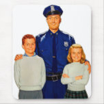 La policía retra del poli del kitsch del vintage alfombrilla de ratón