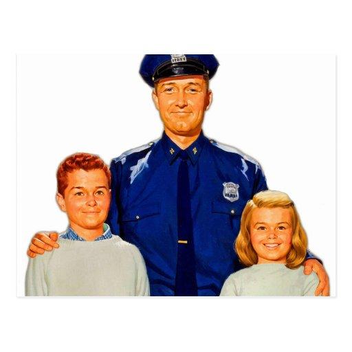 La policía retra del poli del kitsch del vintage postal
