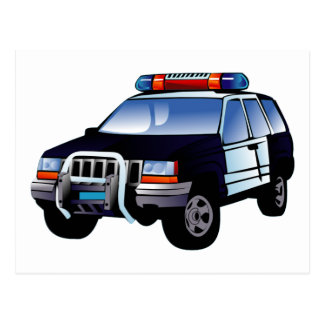 La policía se divierte el vehículo utilitario postal