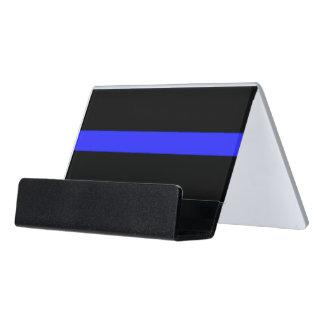La policía simple enrarece el símbolo de Blue Line Caja De Tarjetas De Visita Para Escritorio