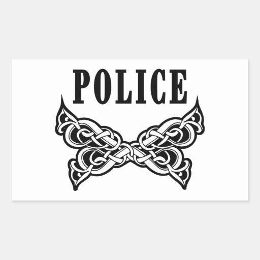 La policía tatúa pegatina rectangular